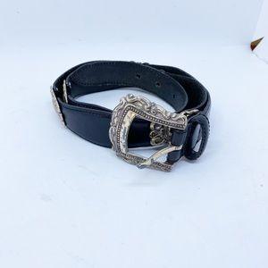 Vintage Fossil Plaque Black Leather Belt